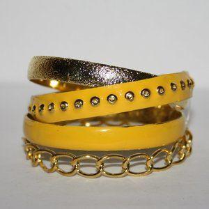 Nwot Yellow and gold bangle bracelet set of 4